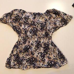 H&M blouse. Tan, navy, brown, Black. Sinch waist.